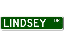 LINDSEY Drive Custom Street Sign Personalized Last Name Aluminum Metal Plaque