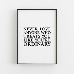 Never Love Anyone Typography Print Wall Art Poster Inspirational Love v2