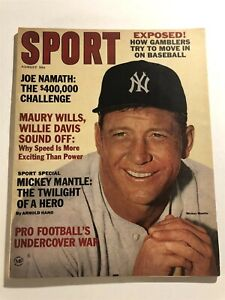 1965 Sport Magazine NEW YORK Yankees MICKEY MANTLE No Label NY JETS Joe NAMATH