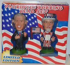 Patriotic Bobblehead Bobbing Head set George Bush Uncle Sam NIB ltd ed