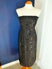 LONG BLACK SEQUIN EVENING DRESS JASPER CONRAN 8 10 XMAS/PARTY/PENCIL/STRAPLESS