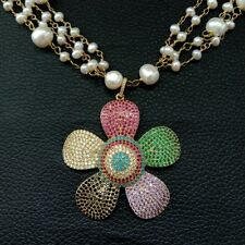 24'' 4 Rows White Pearl Necklace CZ Pave Flower Pendant