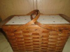 Vintage Woven Wicker Large Picnic Basket W/Shelf-Green, Burlington Hawkeye