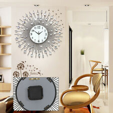 60cm Modern Luxury Large Wall Clock Round Diamond Metal Quartz Clock Home Decor