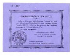 Biglietto ingresso Basilica Vaticana per Coronazione e Messa Papa Pio XI - 1922