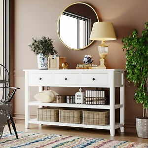 New Retro and Modern Design Console Table with Pine Solid Wood Frame and Legs