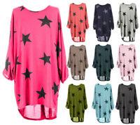 Plus Size Italian Ladies Baggy Sleeves Stars Print Dress Top Tunic Shirt