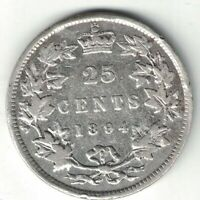 CANADA 1894 TWENTY FIVE CENTS QUARTER QUEEN VICTORIA STERLING SILVER COIN
