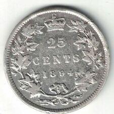 CANADA 1894 TWENTY FIVE CENTS QUARTER QUEEN VICTORIA STERLING SILVER COIN