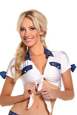 BW-1016 Sexy White Tie Front Top w/ Blue Plaid School Girl Halloween Costume
