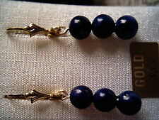 Lapis Lazuli Kugel Ohrhänger Gold 333, Ohrhänger Gold 333 mit Lapis Kugeln 10 mm