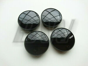 4x 59MM ALLOY WHEEL CENTRE CAPS HIGH GLOSS BLACK FINISH UNIVERSAL FITTING
