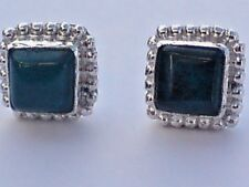STERLING SILVER SQUARE 10mm. STUD EARRINGS WITH MALACHITE STONES  £12.50 NWT