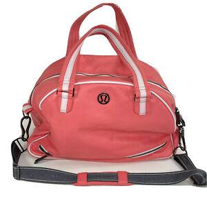 "Lululemon Athletica Womens Coral Polyurethane Yoga Travel Gym Bag 18"" Long"