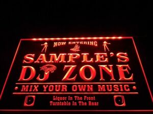 Name Personalized Custom DJ Zone Music Turntable Disco Bar Beer Neon Home Sign