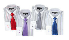 New Men's Contrast Colored Striped Dress Shirt With Slim Tie
