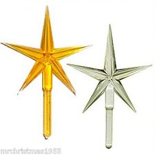 "Vintage Ceramic Christmas Tree 2 LARGE Modern Stars Yellow & Clear 2-1/2"" wide"