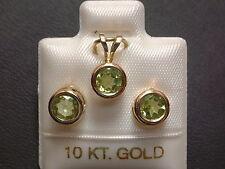 Peridot Schmuckset - 6 mm - 10 Kt. Gold - 417 - Ohrringe & Anhänger Brillant Cut