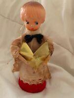 Vintage Christmas Ornament Caroller Boy Japan Plastic Head Cardboard Cone