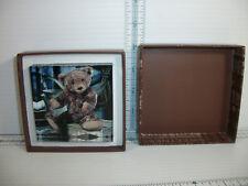 """Gund Brown Teddy Bear Glass Paper Weight In Original Box 3"""" X 3"""" x 3/4"""""""