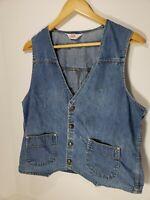 Levis Panatela Blue Denim Jean Vest Vintage 70s Colorful Seams Snap Button Large