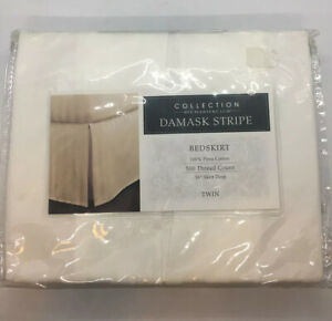 Macys Collection by Charter Club Damask Stripe Twin Bedskirt 500 Thread Count