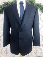 Brooks Brothers Striped Navy Blue Wool/Lastol Blazer Sport Coat 2 Button 42R