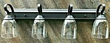 4 light Bronze vanity bathroom wall lights with clear straight glass