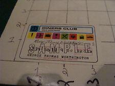 vintage paper; 1968 DINERS CLUB sample card 1968