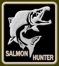 "SALMON HUNTER EMBROIDERED PATCH ~3-3/8"" x 3"" BRODÉ MUOKKAA AUFNÄHER FISHING ROD"