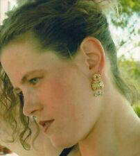 18K Solid Gold & Platinum Amethyst Peridot Rhodolite Garnet Drop Earrings OOAK