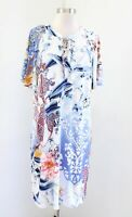Chicos Abstract Print Refreshing Floral Paisley Shift Dress Tie Neck Size 1 Blue
