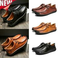 Men Casual Leather Oxfords Driving Lace Up Loafers Dress Formal Shoes Large Size