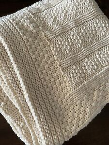 """Pottery Barn Organic Patchwork Knit Throw 50 x 60""""- Natural~ Undyed Natural ~New"""