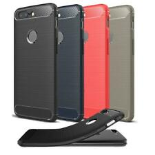 For Huawei P8 Lite 2017 & P Smart 2019 Black Carbon Fiber Gel Phone Case Cover