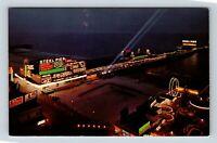 Atlantic City NJ, Steel Pier Night View Amusement Chrome New Jersey Postcard