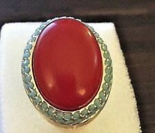 Art Deco Red Coral Ring Turquoise Crystal Gold Cocktail Stunning Size 5 Retired