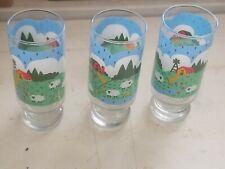 VTG 1982 Anchor Hocking Farm Scene Drinking Glasses Meadows Glassware Set 3