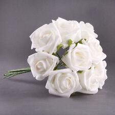 20pcs Latex Touch Flowers Bouquets Rose Wedding Bouquet White SH