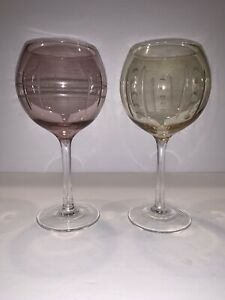 """2 Cristal D'Arques Uptown Wine Balloons Light Purple And Yellow Mint 8"""""""