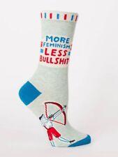 More Feminism Less Bullshit Women's Crew Socks Blue Q Funny Novelty Fun Gifts