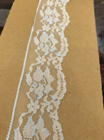 Vintage White And Blue Floral Lace Trim Scalloped Edge Insert 60 Mm