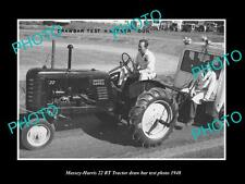 OLD LARGE HISTORIC PHOTO OF MASSEY HARRIS 22 RT TRACTOR 1948 TEST PHOTO
