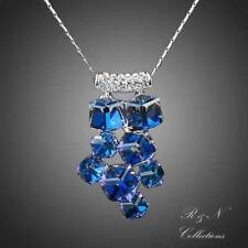 Platinum Plated Blue Cube Made With SWAROVSKI Crystal Pendant Necklace N234-18