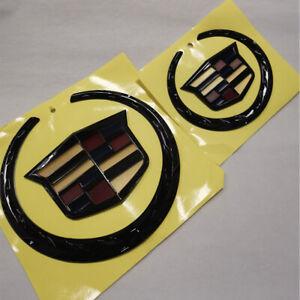 Black Colored Cadillac Grille+Rear Emblem Badge Ornament Symbol ATS Escalade