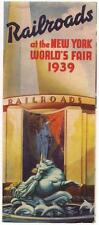 New York NY 1939 World's Fair Brochure RAILROADS Exhibit Map in Color Free Ship