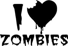 I love zombies with heart  vinyl wall decal. car, or note book
