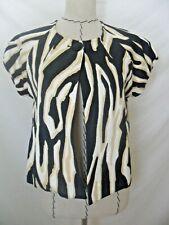 Scott Taylor swing jacket top animal print BLACK WHITE short sleeve petitie sz M