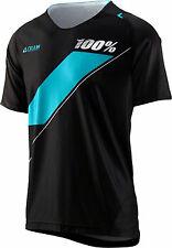 100% Celium Men's MTB Jersey: Black/Cyan LG