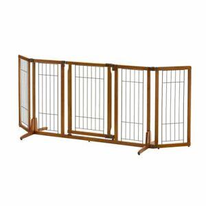 """Richell Wide Premium Plus Freestanding Pet Gate with Door Brown 55.1"""" - 84.3"""" x"""